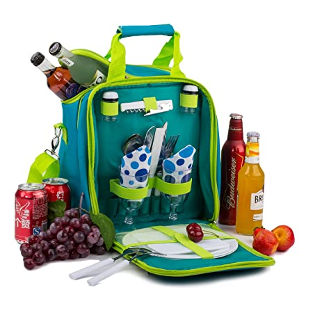 APOLLO WALKER Picnic Basket Bag Set, 2 Person Insulated Tote with Cooler Compartment Includes Tableware for Picnic,Travelling,BBQ Green