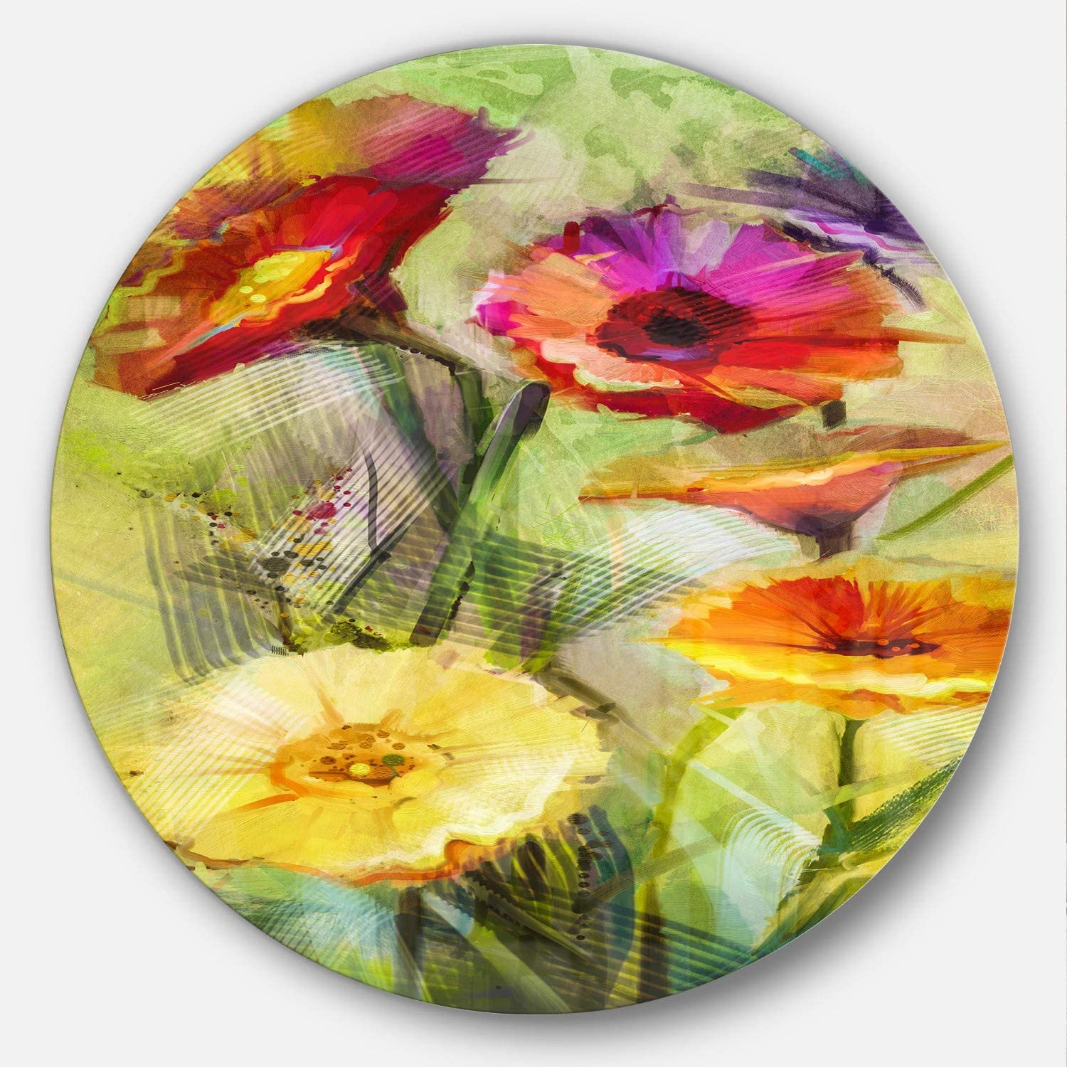Designart Roses and Gerber Flowers Watercolor Floral Round Metal Wall Art Disc of 38 38x38-Disc of 38 inch