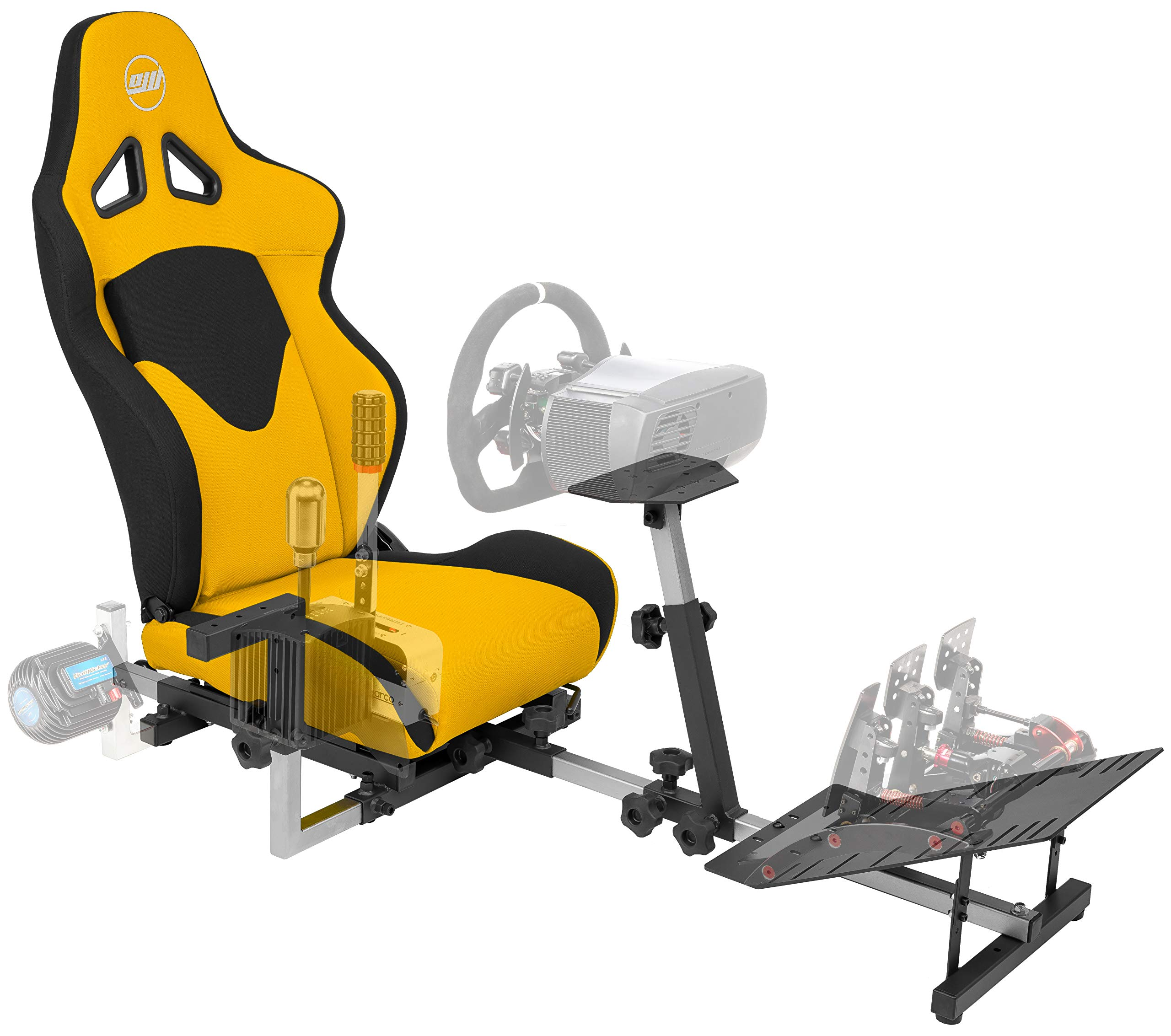 OpenWheeler GEN3 Racing Wheel Stand Cockpit Yellow on Black | Fits All Logitech G923 | G29 | G920 | Thrustmaster | Fanatec Wheels | Compatible with Xbox One, PS4, PC Platforms