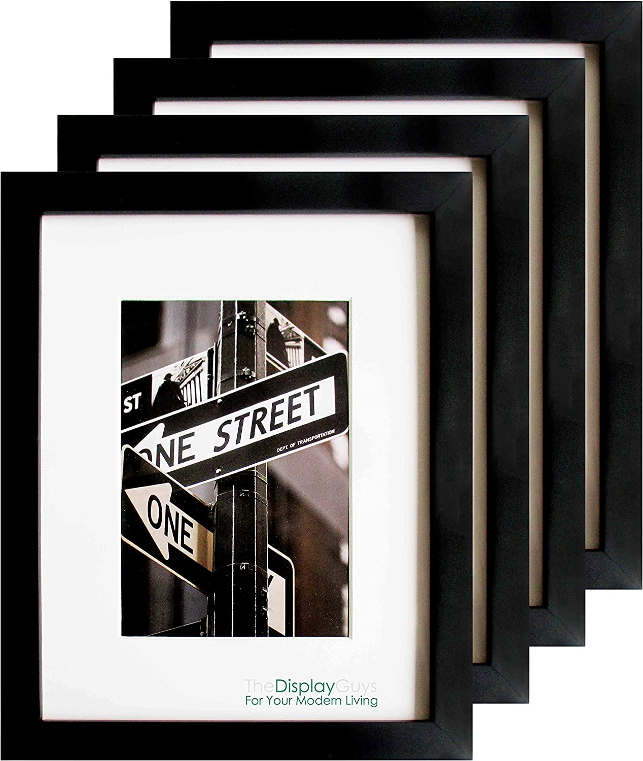 TheDisplayGuys 4-Pack Solid Pine Wood 18x24 Picture Frames w. Tempered Glass matted to 12x18 (Black) - for Wall Hanging, Smooth Border Finish (Value Set)