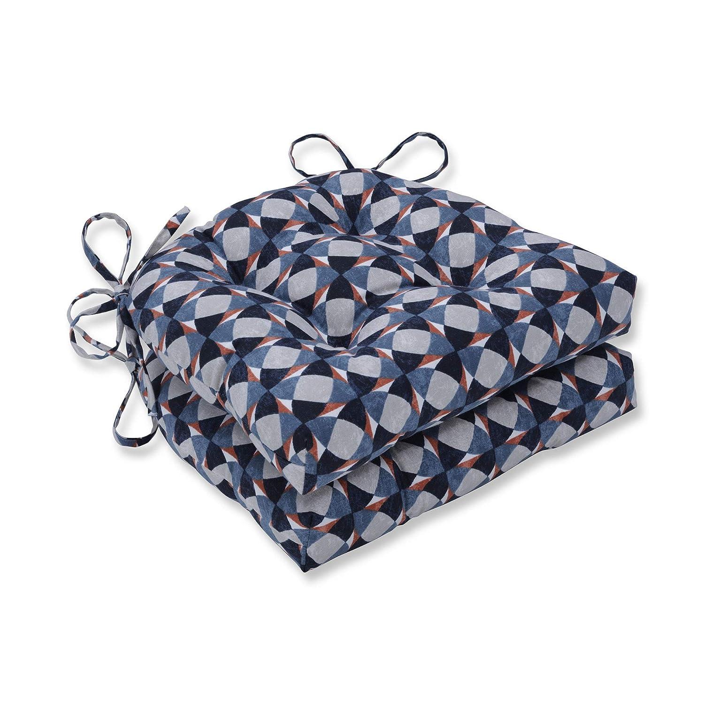 CC Home Furnishings チェアパッド ブルー オレンジ グレー エレガント リバーシブル 16インチ 2個セット   B07HJV4H47
