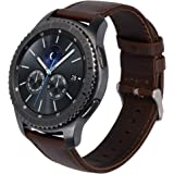 Shopizone Genuine Leather Replacement Strap Band for Samsung Gear S3 Frontier/S3 Classic (Dark Brown)