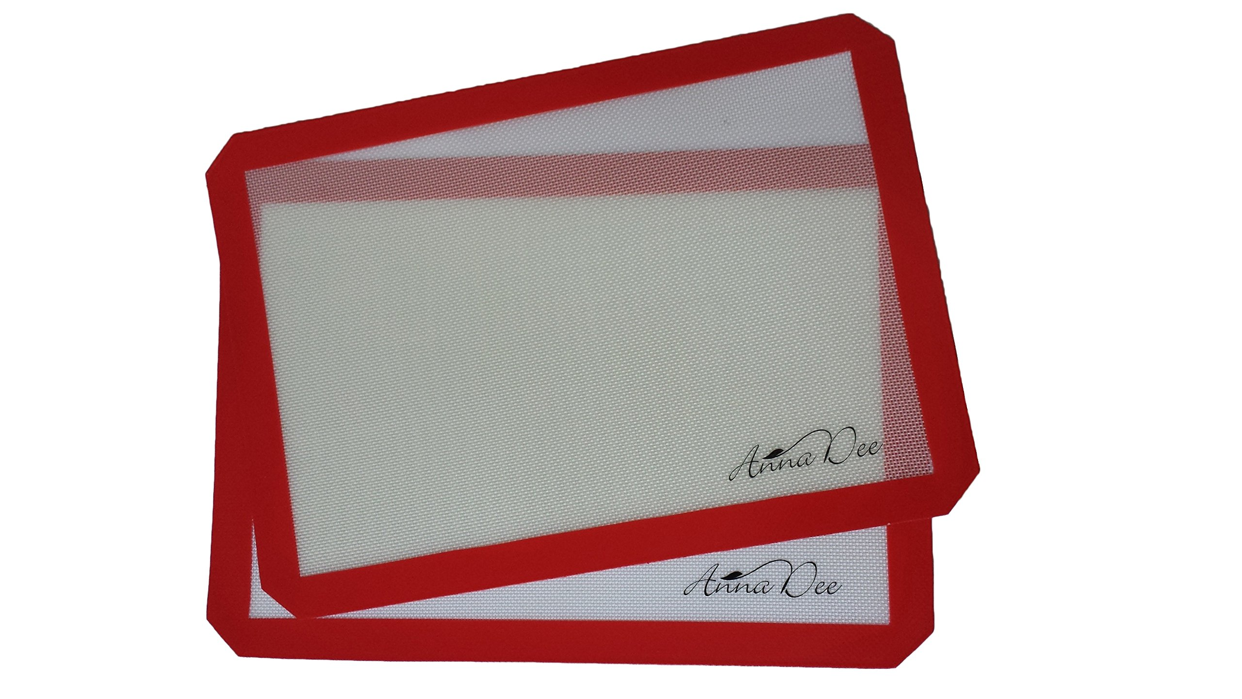Annadee Non-stick Silicone Baking Mat (Set of 2), Half Sheet Pan Size, 16 1/2 X 11 5/8 Inches