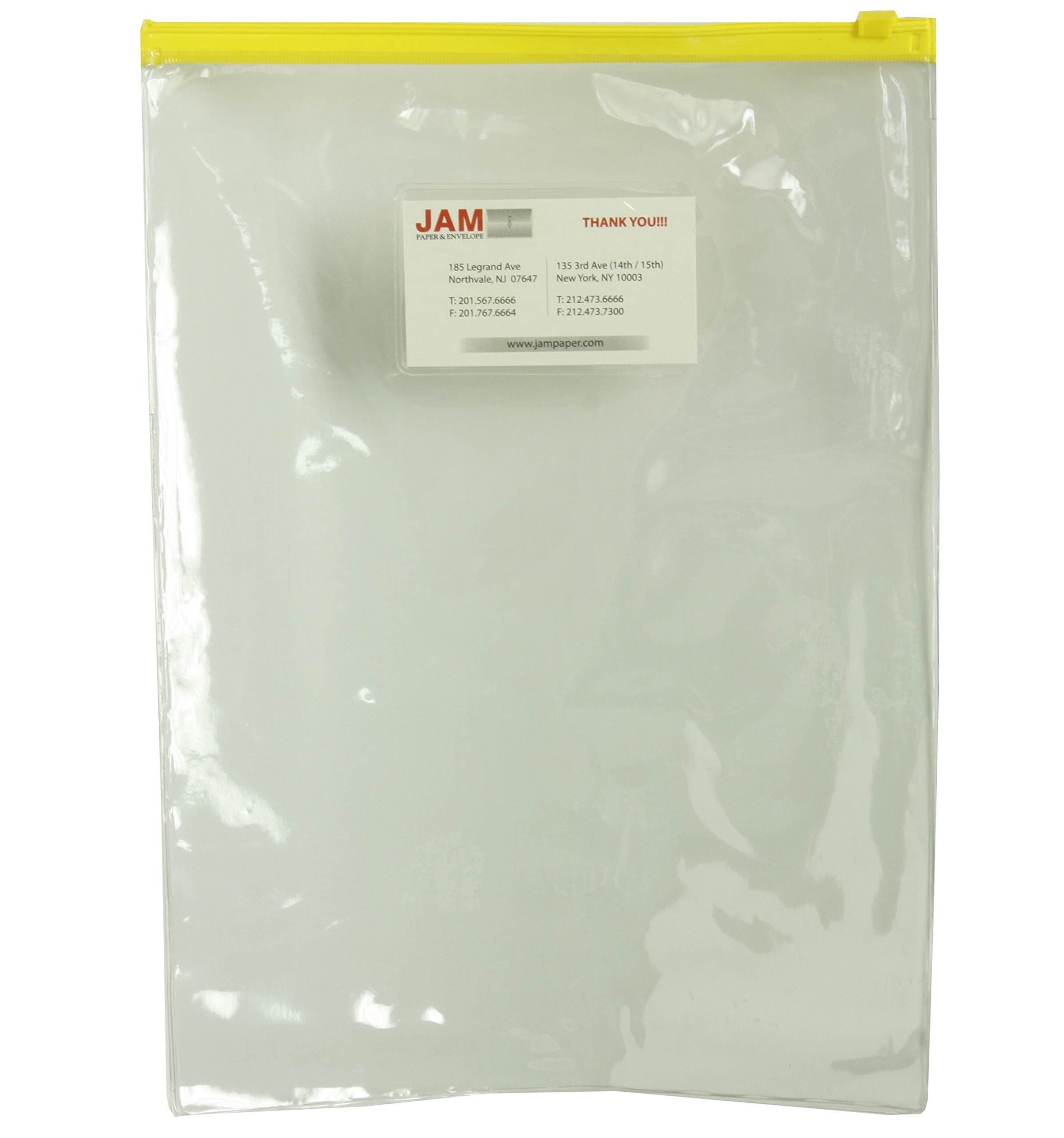 JAM Paper Plastic Poly Envelope with Zipper Closure - Letter Open End - 9 1/2'' x 12 1/2'' - Clear with Yellow Top - 108/pack