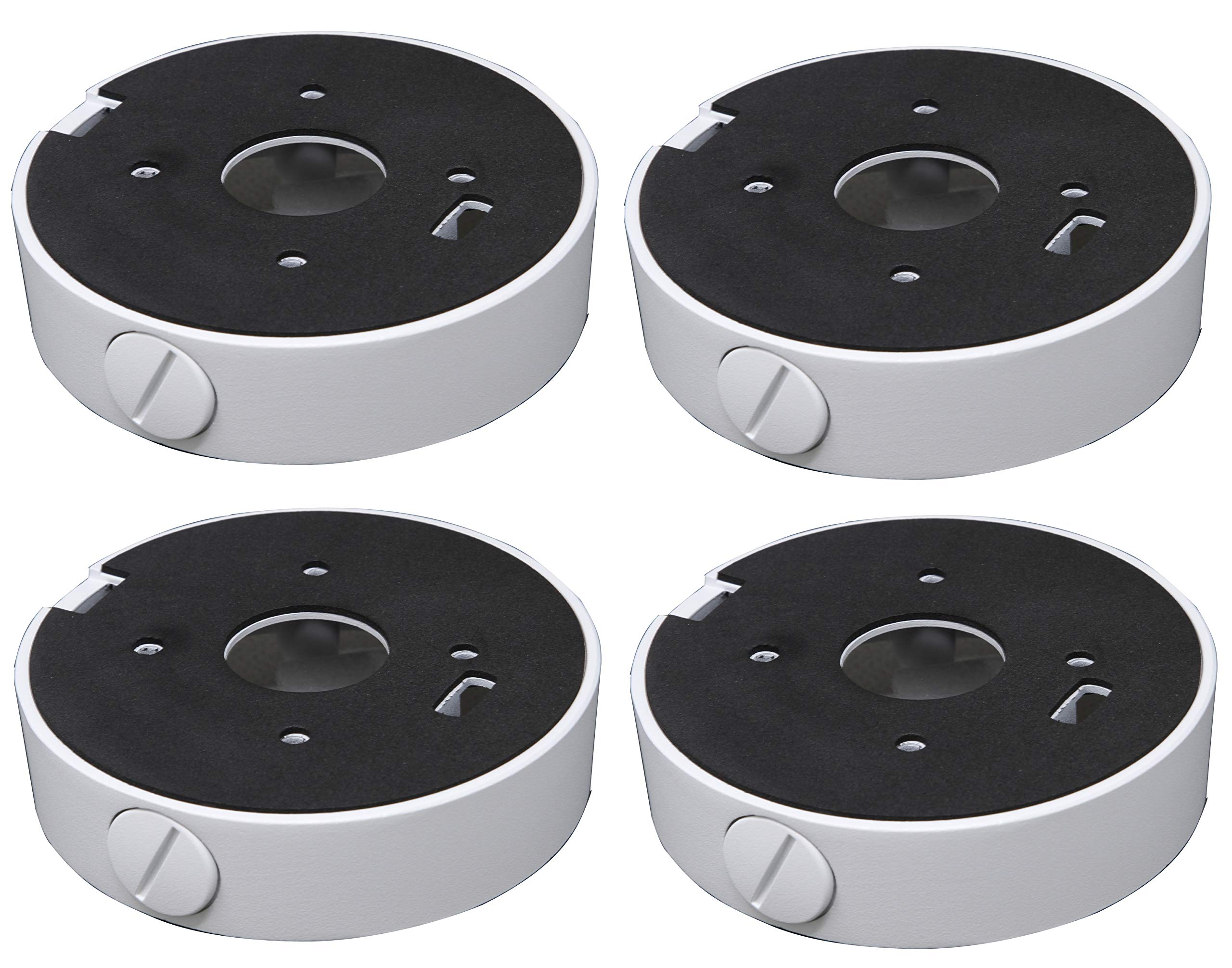 Mounting Bracket Junction Box Base Mount DS-1280ZJ-M for Hikvision Turret Camera DS-2CD23x2 White 4 Pack by AmSecu