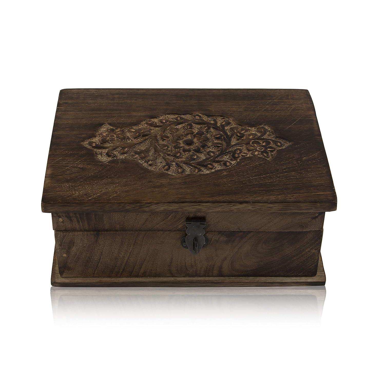 caja de recuerdos caja de joyer/ía grandes ideas de cumplea/&nti caja de joyer/ía caja de 8 x 6 pulgadas Global Village Bazaar caja de joyer/ía Joyero decorativo de madera hecho a mano con cerradura y organizador de joyas de llaves