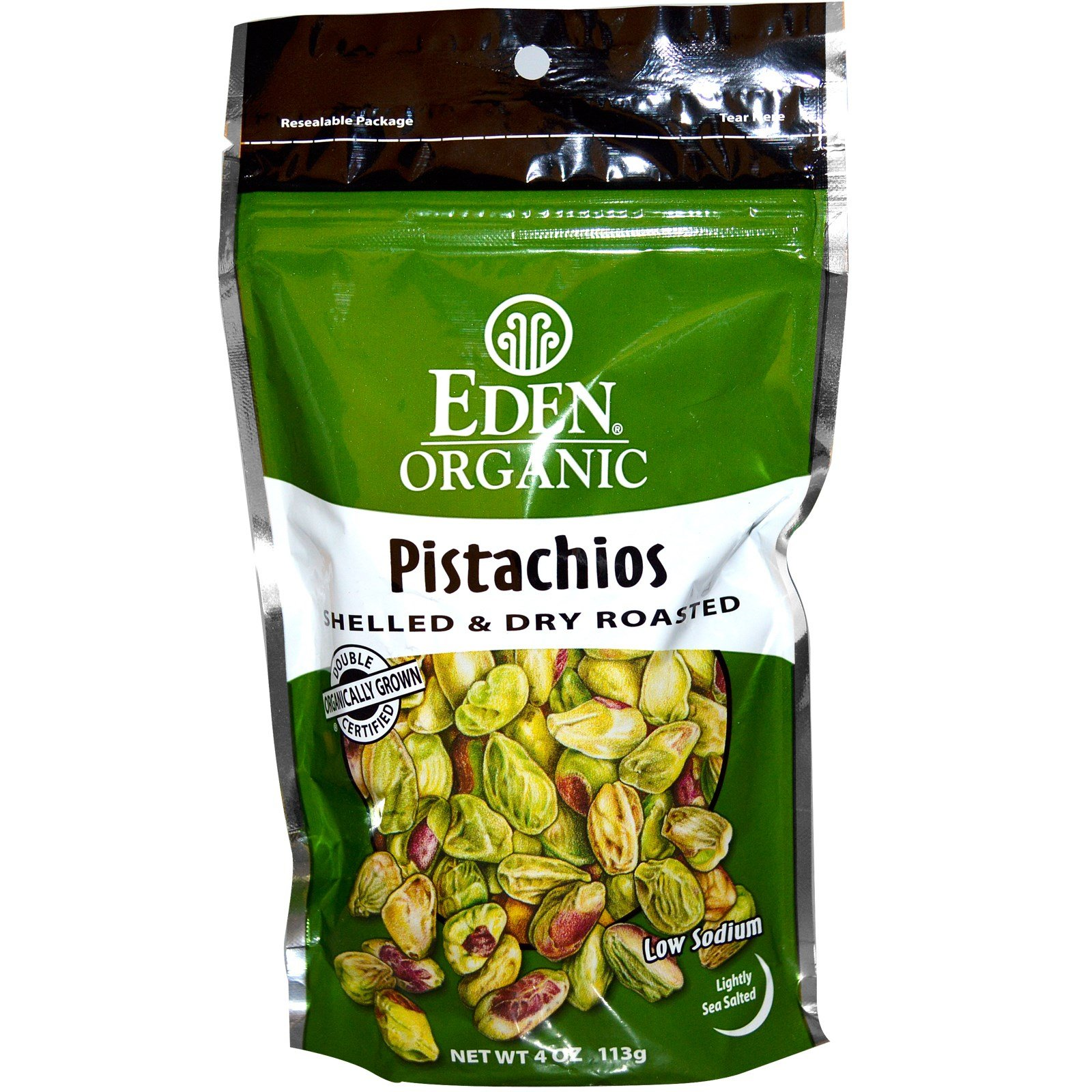 Eden Foods, Organic, Pistachios, Shelled & Dry Roasted, Lightly Sea Salted, 4 oz (113 g) - 2pc