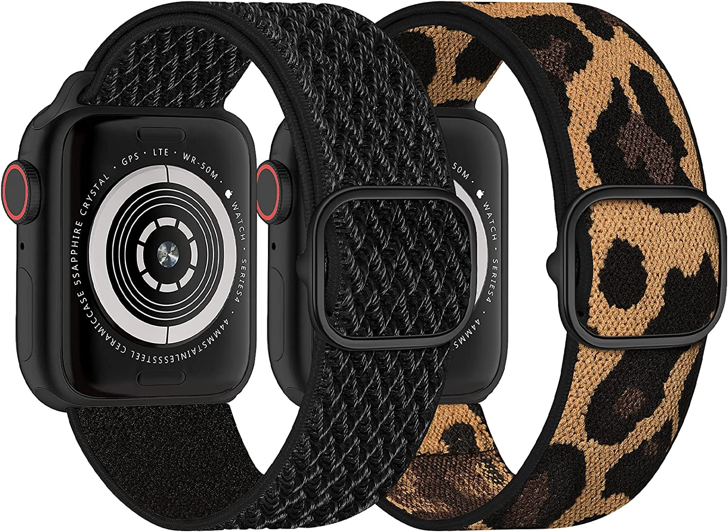 RON-D 2 Pack Stretchy Nylon Loop Compatible with Apple Watch Band 38mm 40mm 42mm 44mm Women Men, Adjustable Upgraded Buckle with Elastic Nylon Weave Wristband for iWatch Series 6/SE/5/4/3/2/1