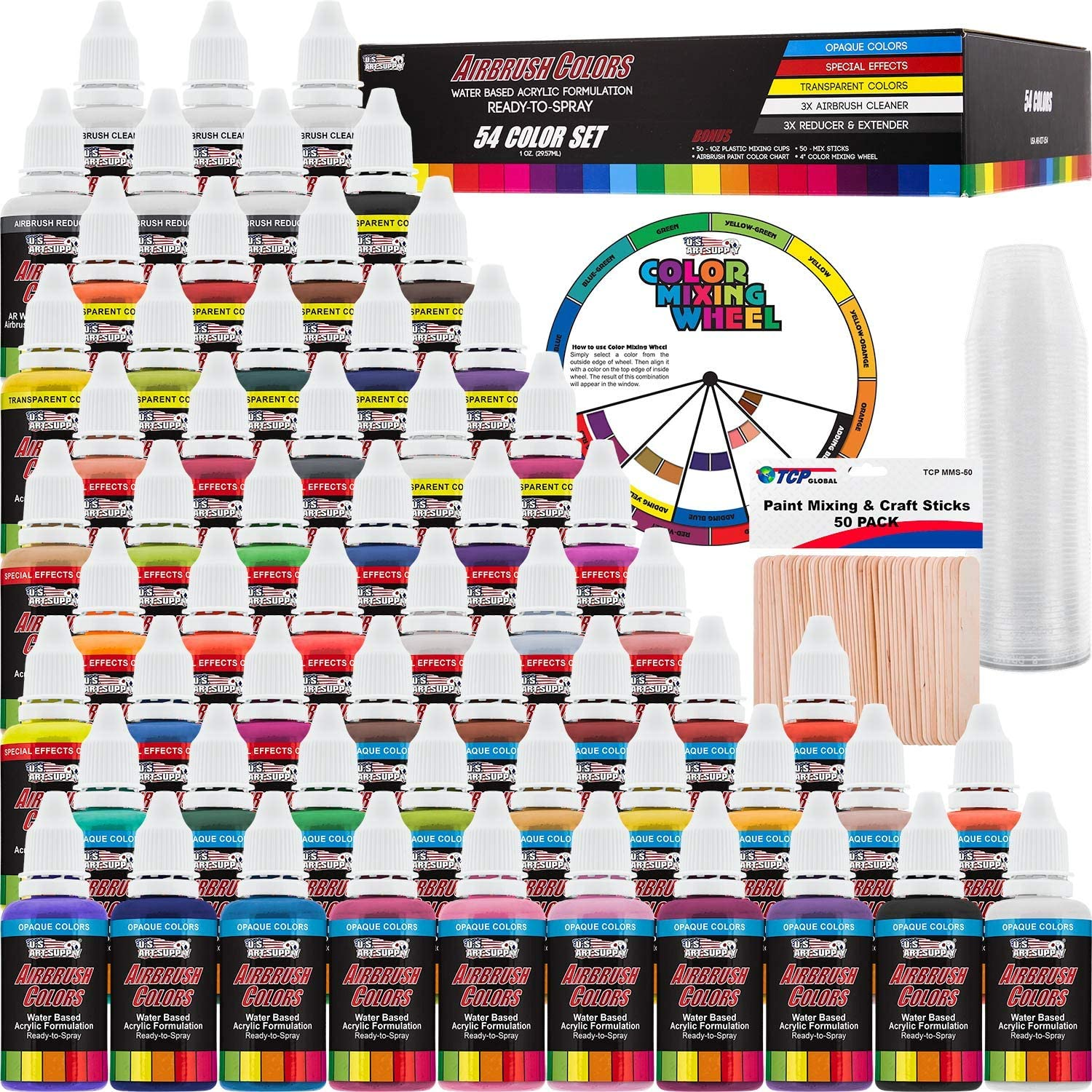 U.S. Art Supply 54 Color Ultimate Acrylic Airbrush, Leather & Shoe Paint Set with Cleaner, Thinner, 50-Plastic Mixing Cups, 50-Wooden Mix Sticks and a Color Mixing Wheel: Toys & Games