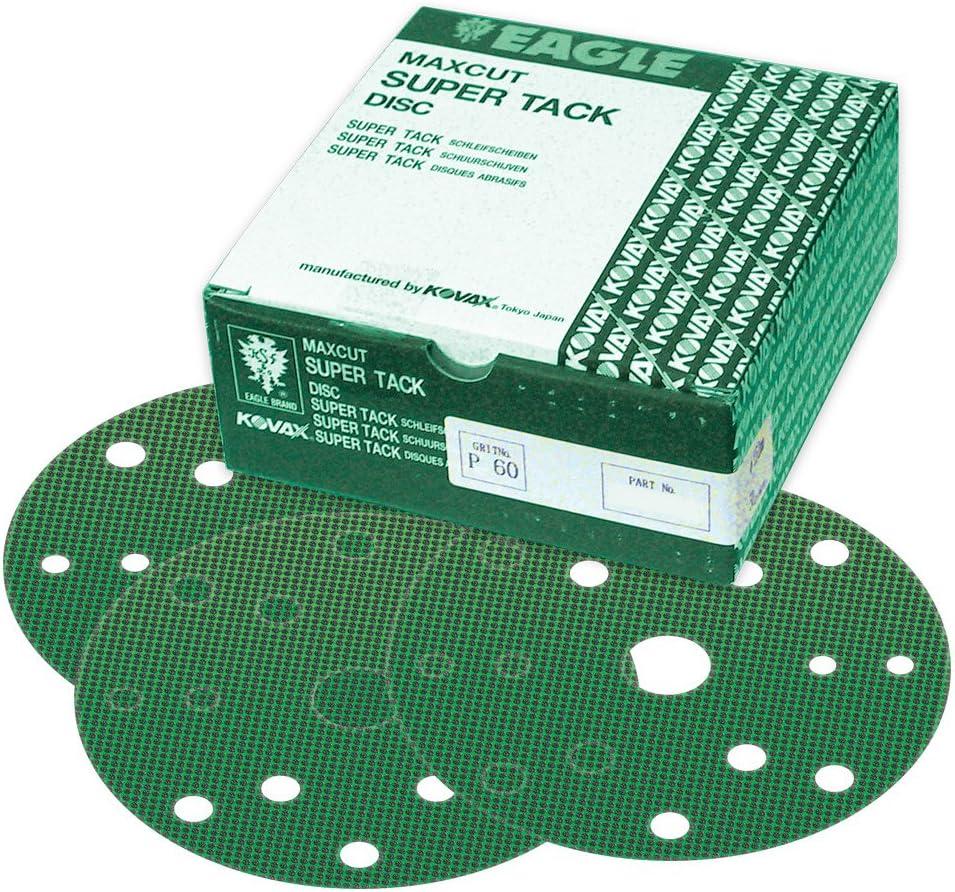 Eagle 569-0080 - 6 inch Maxcut SUPER-TACK Discs - 15 Holes - Grit P80 - 50 discs/box 81Bkl3WbeOL