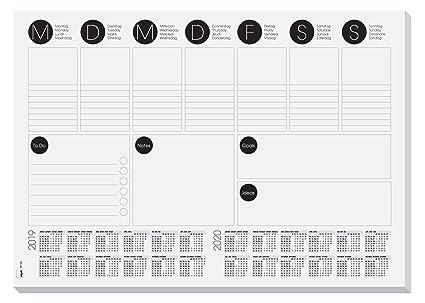 SIGEL HO506 Vade de papel de sobremesa con calendario bianual actual, planificador semanal y lista To-do, 42 x 29.7 cm, 30 hojas