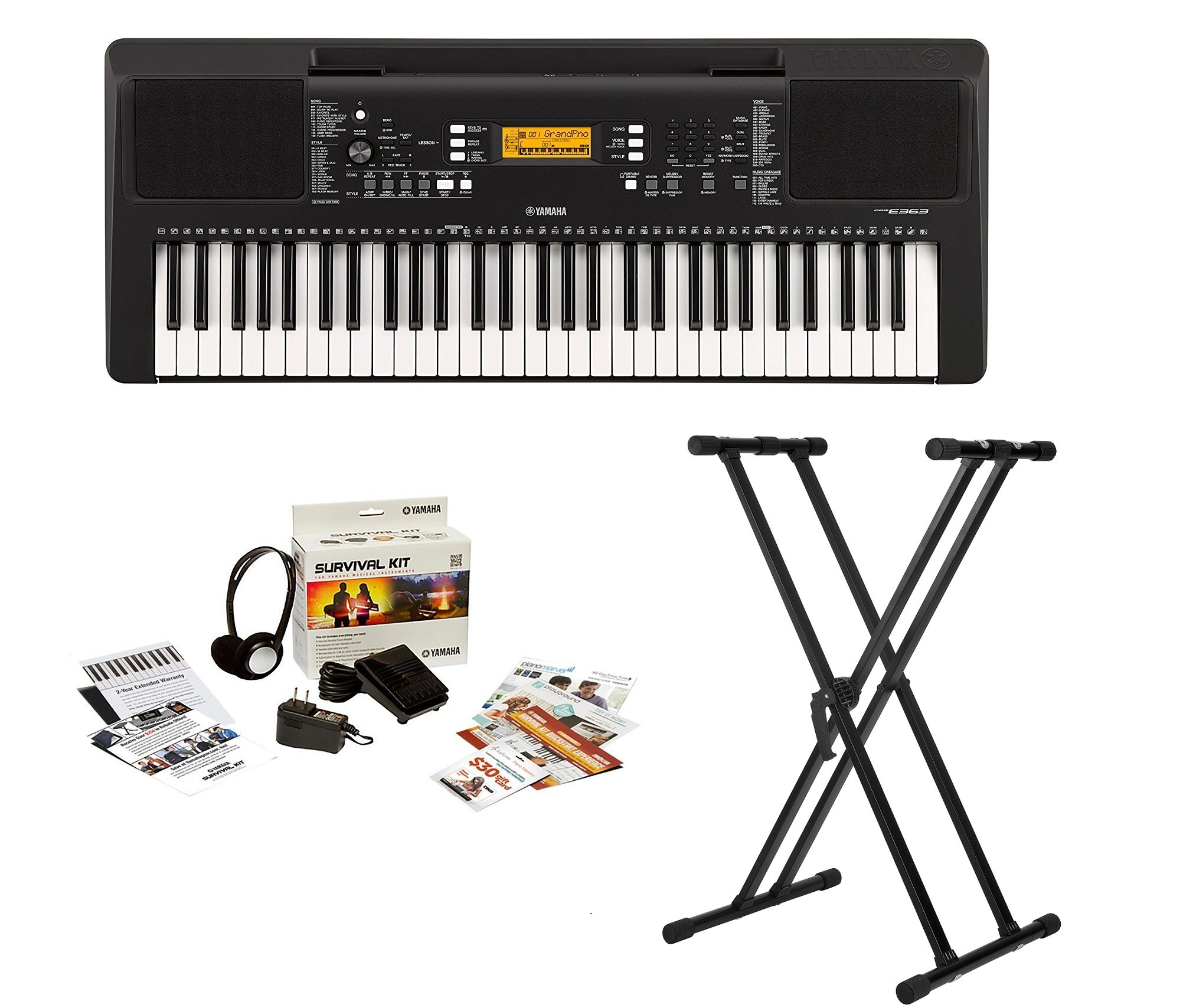 Yamaha PSRE363 61-Key Portable Keyboard with Knox Double X Stand and Survivalkit (Includes Power Adaptor and 2 Year Warranty) by YAMAHA