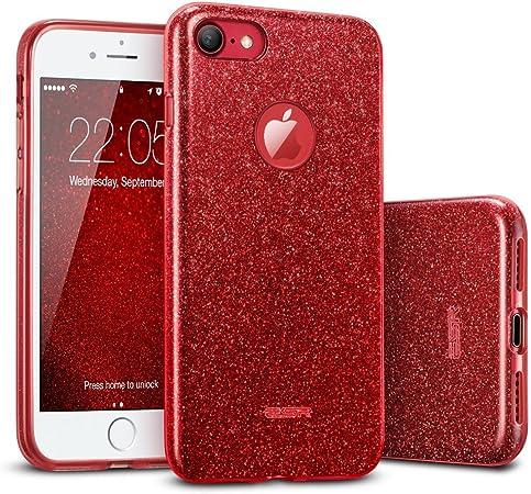 ESR iPhone 7 Cover con Brillantini/Glitters, Custodia Brillante Lucciante Luminosa [Elastica e Morbida] per Apple iPhone 7 (Rossa)