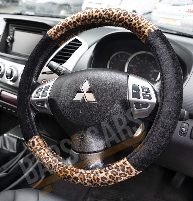 UKB4C Leopard Animal Skin Print Car Steering Wheel Cover for Fiat 500