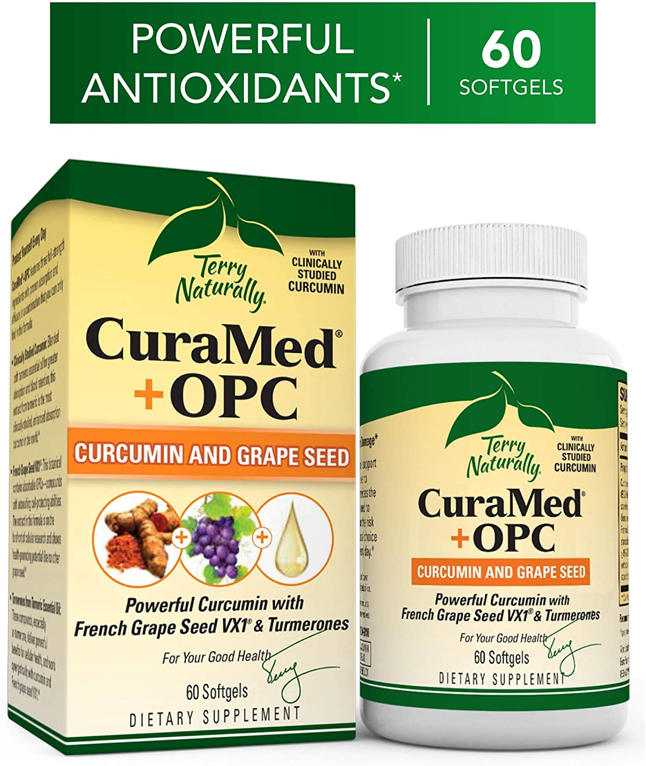 Terry Naturally CuraMed OPC – 60 Softgels – BCM-95 Curcumin French Grape Seed VX1 Supplement, Supports Brain, Heart, Colon, Breast, Prostate Liver Health – Non-GMO, Gluten-Free – 30 Servings