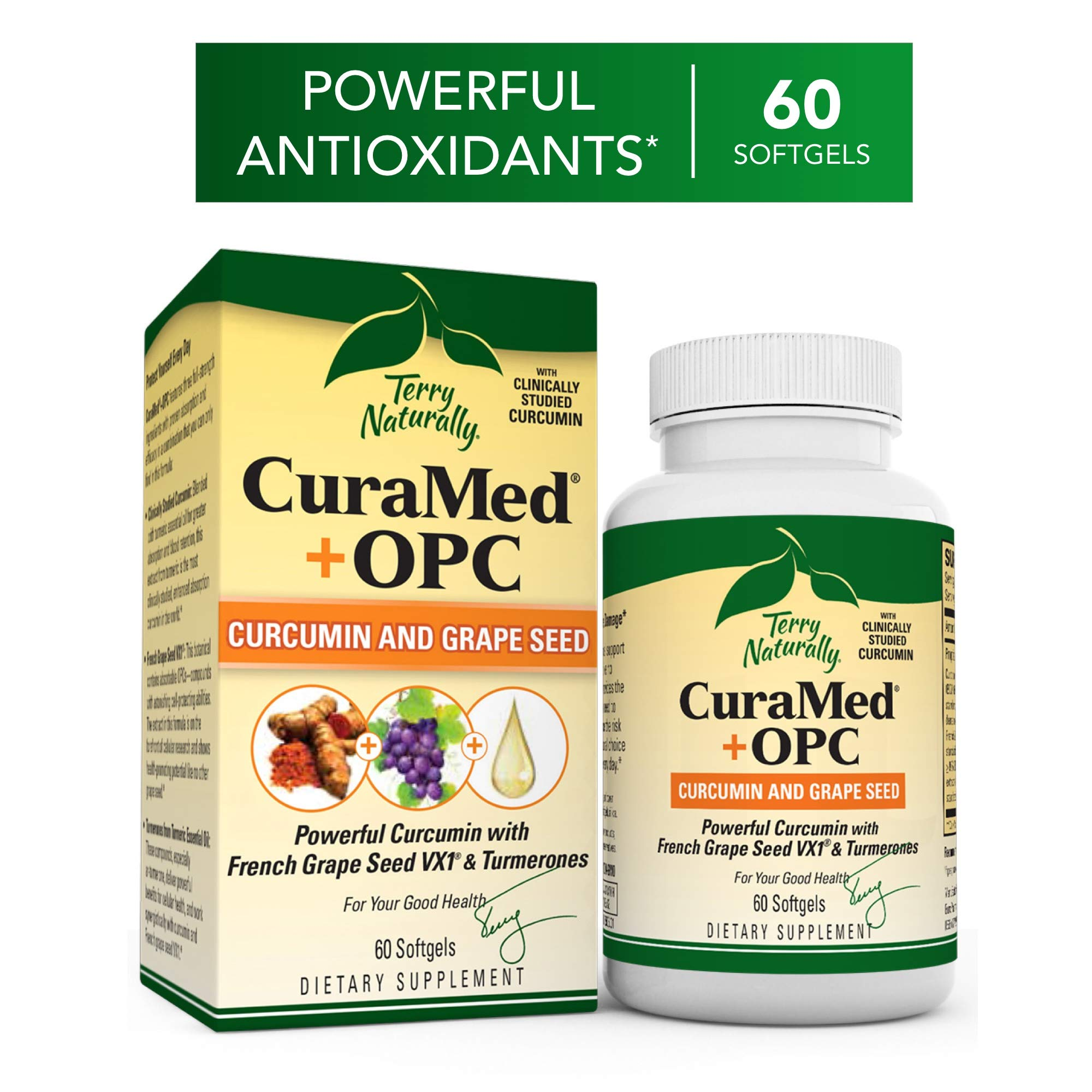 Terry Naturally CuraMed + OPC - 60 Softgels - BCM-95 Curcumin & French Grape Seed VX1 Supplement, Supports Brain, Heart, Colon, Breast, Prostate & Liver Health - Non-GMO, Gluten-Free - 30 Servings by Terry Naturally
