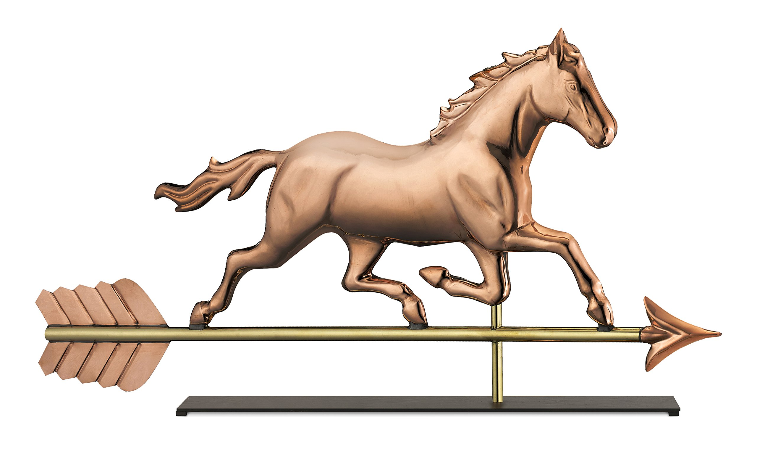 Good Directions Trotting Horse Weathervane Sculpture on Mantel / Fireplace Stand, Pure Copper, Equestrianl Home Décor, Tabletop Accent