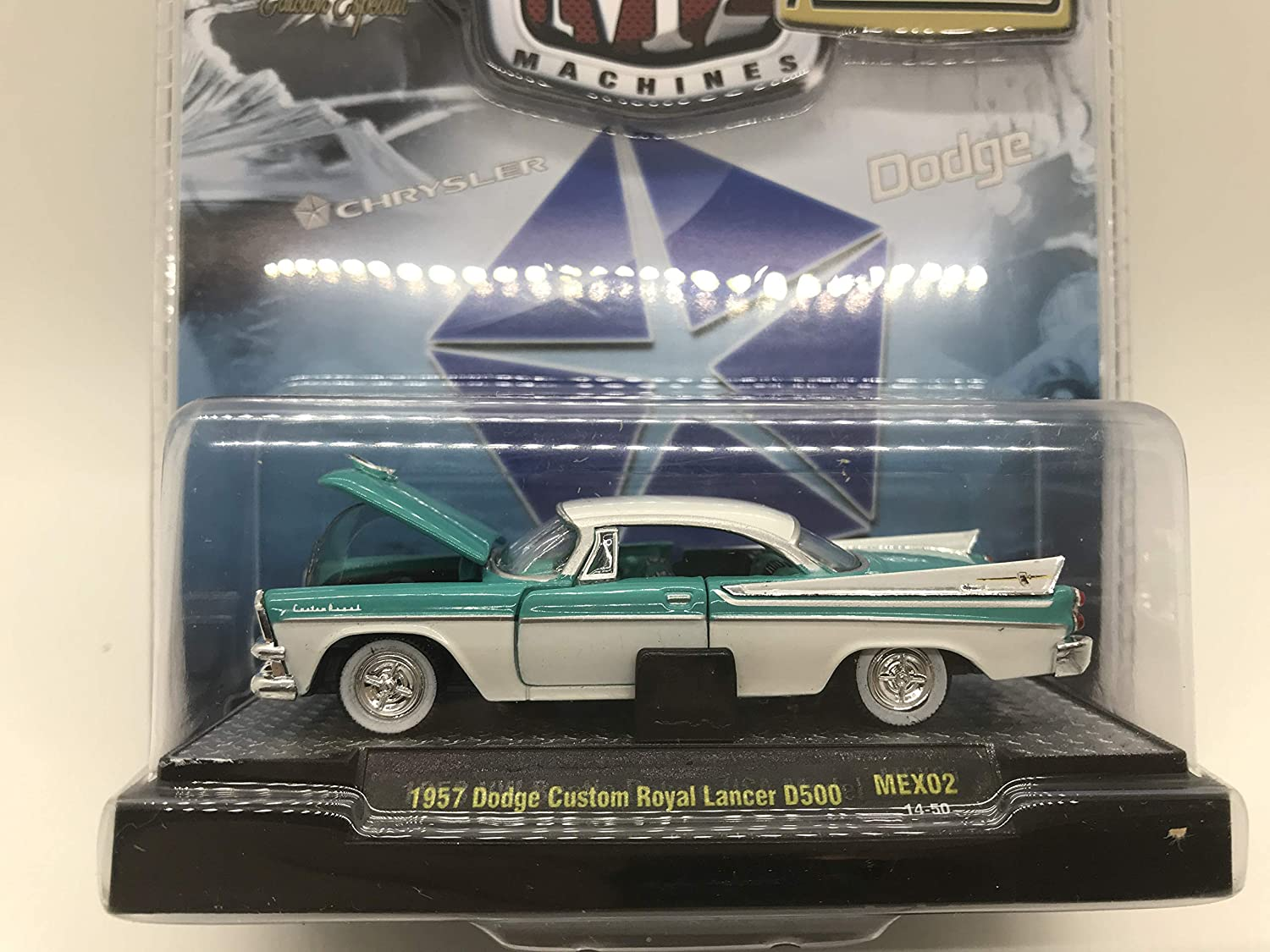 M2 Machines by M2 Collectible Auto-Thentics 1957 Dodge Custom Royal Lancer D500 MEX02 14-50 Turquoise//White Details Like NO Other!
