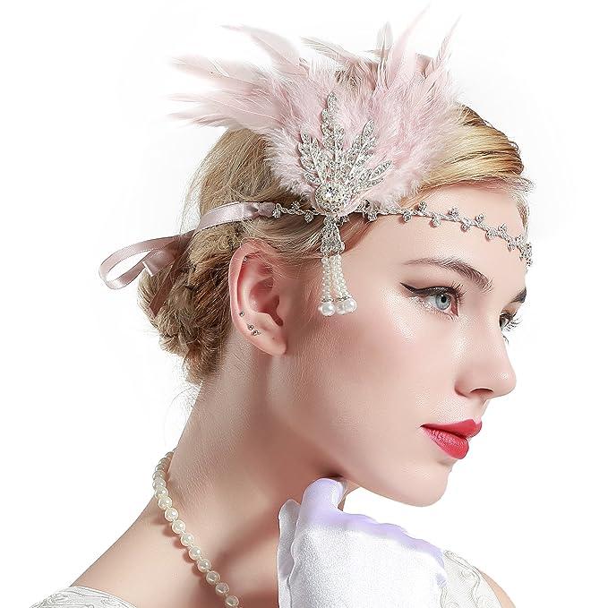 BABEYOND Fascia Anni 20 Gatsby Flapper Headband Fascia Charleston con Piuma  Anni 20 Fascia Capelli Gatsby a7e7639b97a5