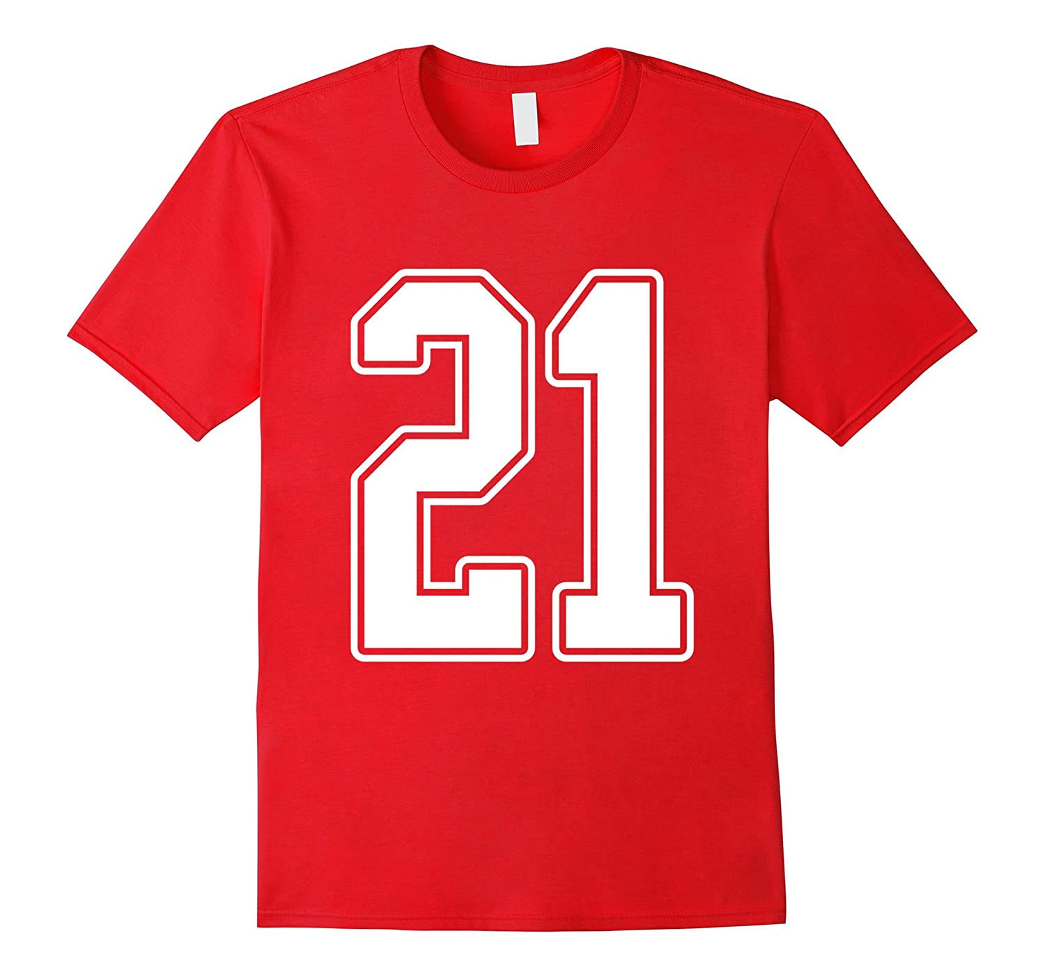 #21 White Outline Number 21 Sports Fan Jersey Style T-Shirt-ANZ