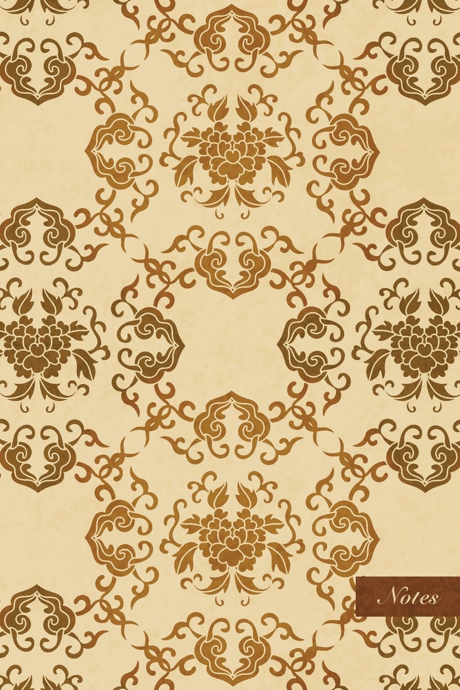 """Download Notes: 6""""x9"""" Unruled Blank Notebook - Oriental Check Spiral Curve Cross Nature Leaf Vine Flower - Retro Brown Worn Out Vintage Seamless Pattern Cover. Matte Softcover And Cream Interior Papers. pdf"""