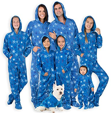 853df0bbd Amazon.com  Footed Pajamas - Family Matching Snow Blizzard Hoodie ...