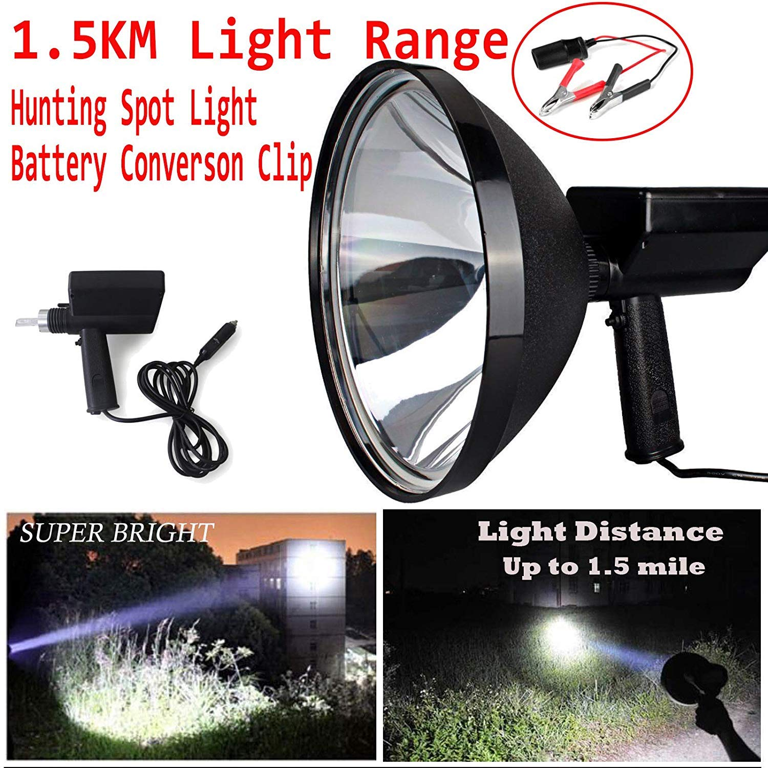 Powerful 100W 10000LM HID Xenon Flashlight 9 Inch 150KM Light Range Outdoor Indoor 12V Handheld Portable Spotlight Camping Hunting Boating Farming Patrolling