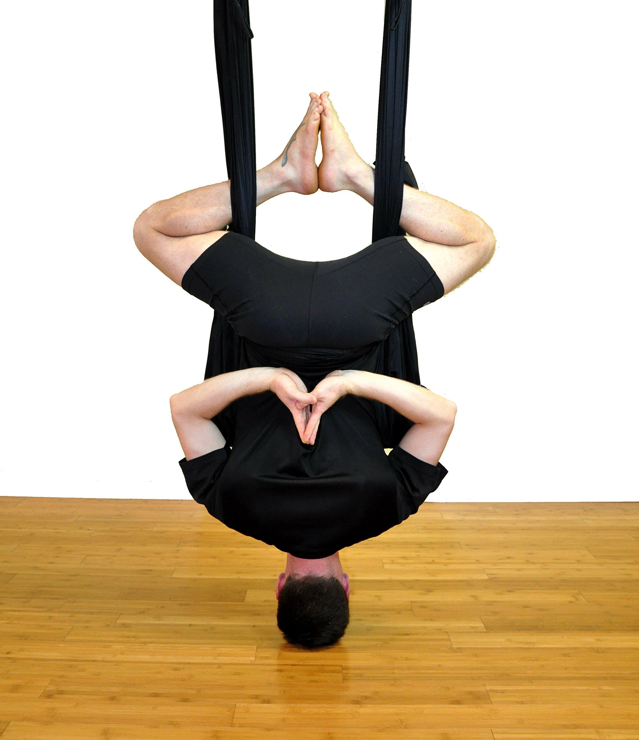 Deluxe Aerial Yoga Hammock (Yoga Swing or Sling for Aerial Yoga) (Black)