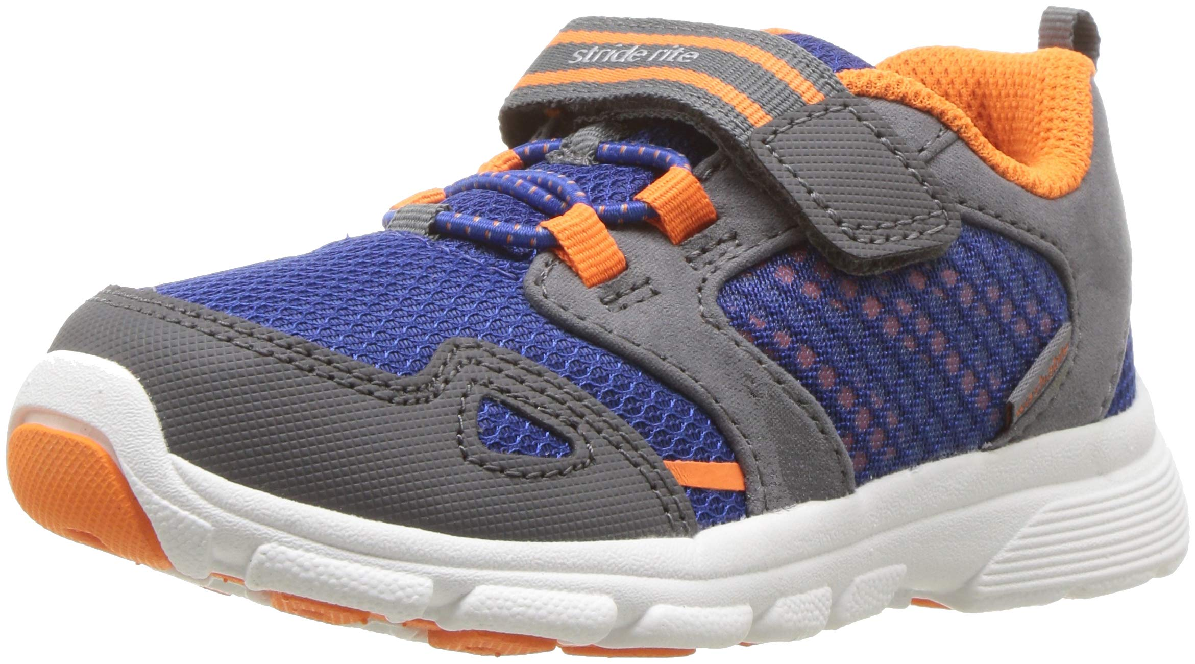 Stride Rite Boys' Made 2 Play Taylor Sneaker, Navy/Orange 7.5 M US Toddler