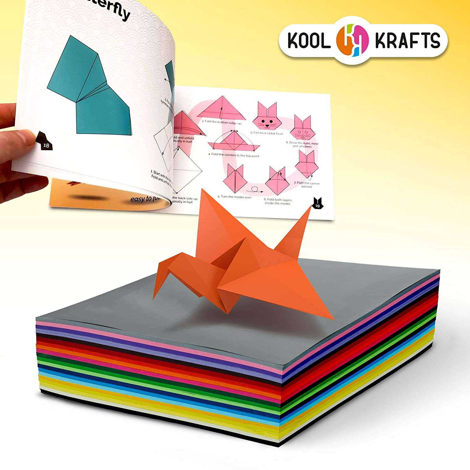 with 25 Easy Origami Projects Colored Book Kool Krafts Origami Paper 300 Sheets Same Color on Both Sides, 6-inch Square Sheets 20 Vibrant Colors Premium Quality for Arts and Crafts