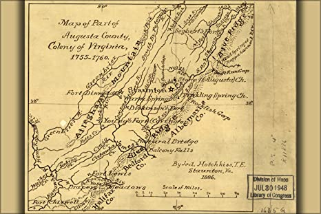 24x36 Poster; Map Of Augusta County, Virginia Colony 1755 1760; Antique  Reprint