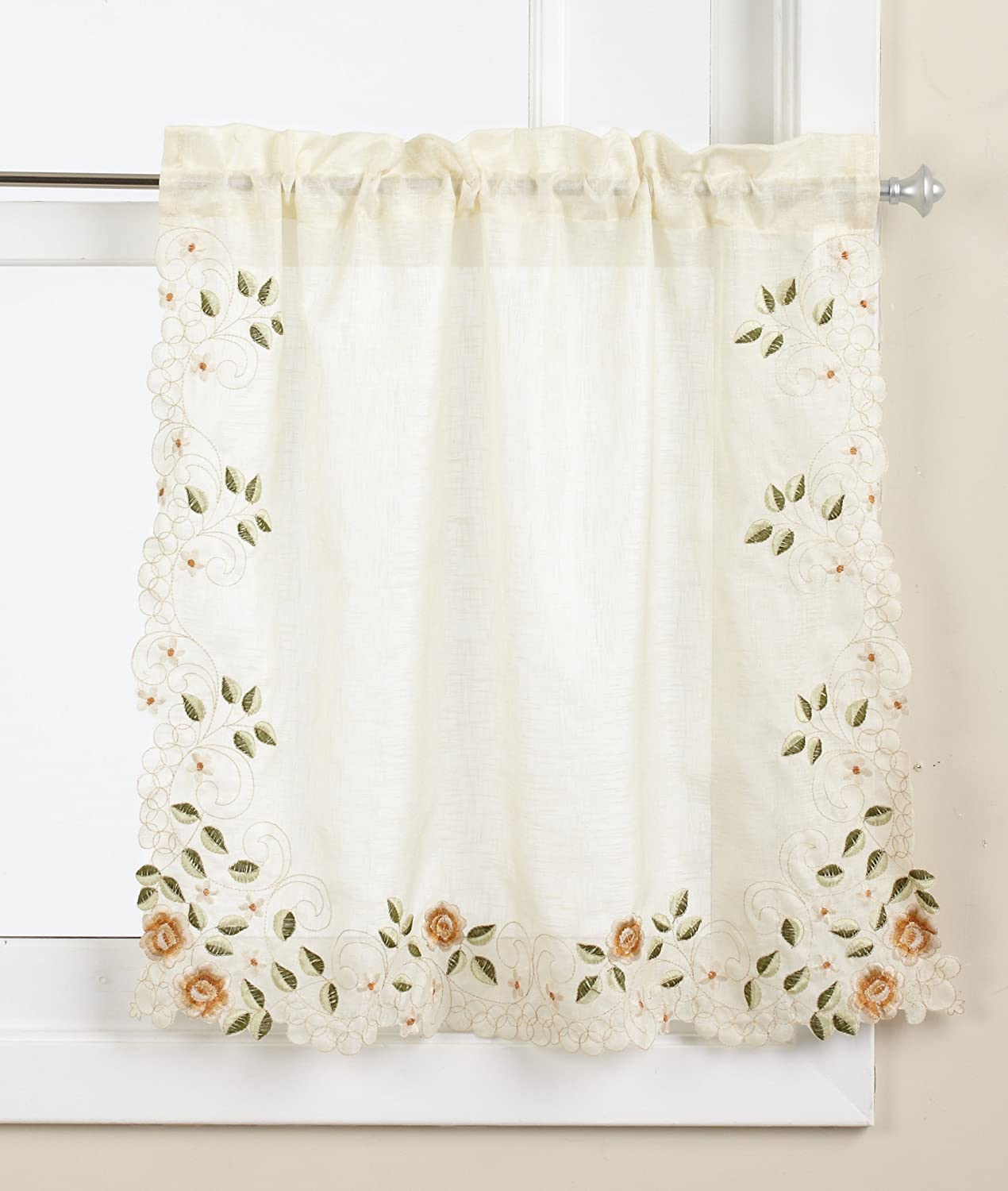 LORRAINE HOME FASHIONS Rosemary Tier Curtain Pair, 58 by 24-Inch, Linen