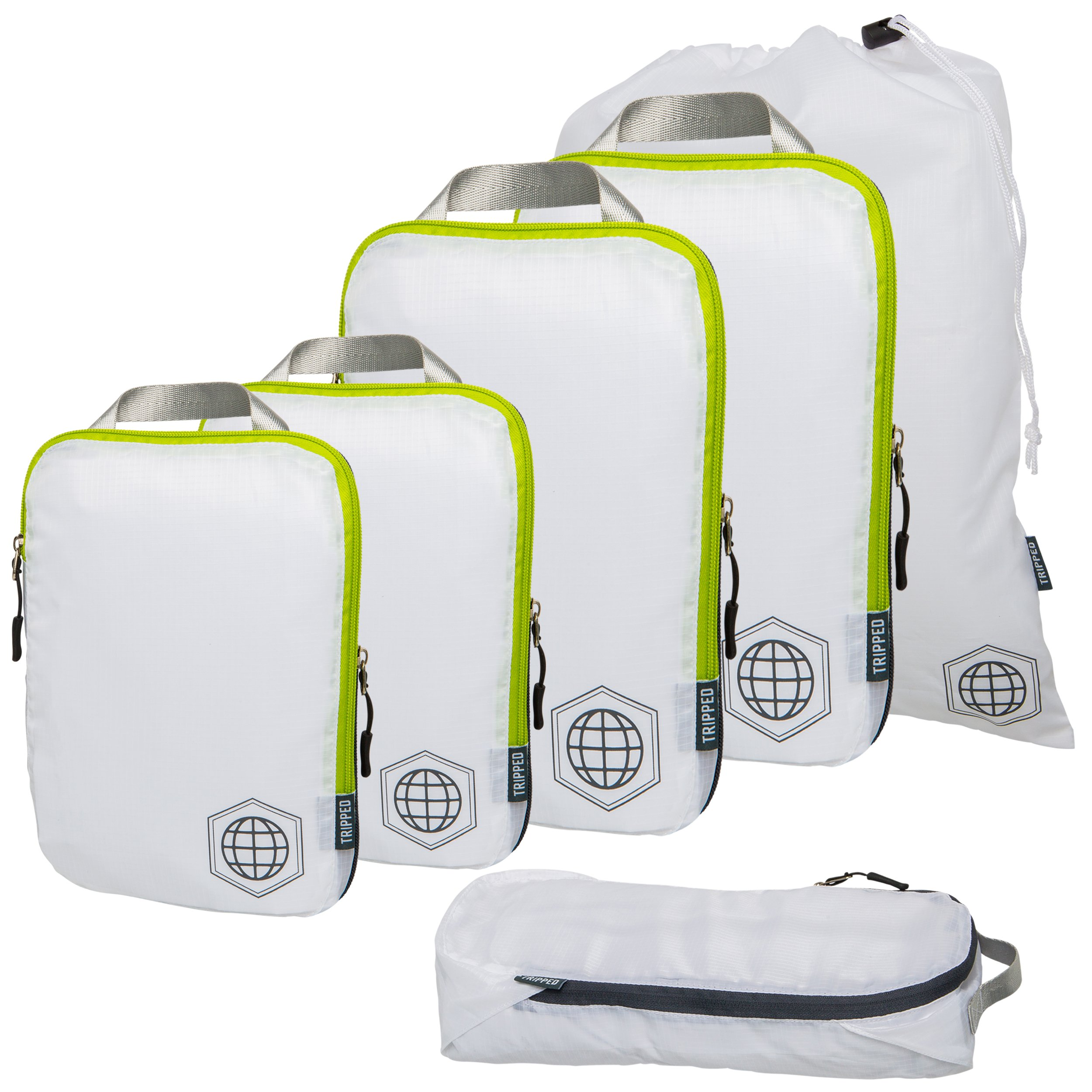 Packing Cubes Travel Organizer- Compression Travel Bags (White and Green, 6 Piece Set)