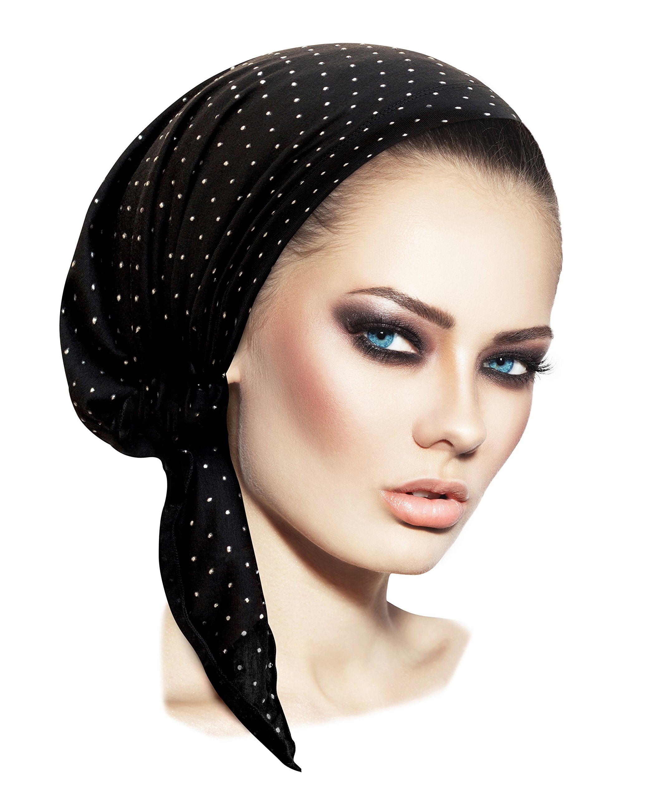 Black pre-Tied Tichel Headscarf Soft Cotton Sparkles Shimmer Collection! (Black Silver dots Short)