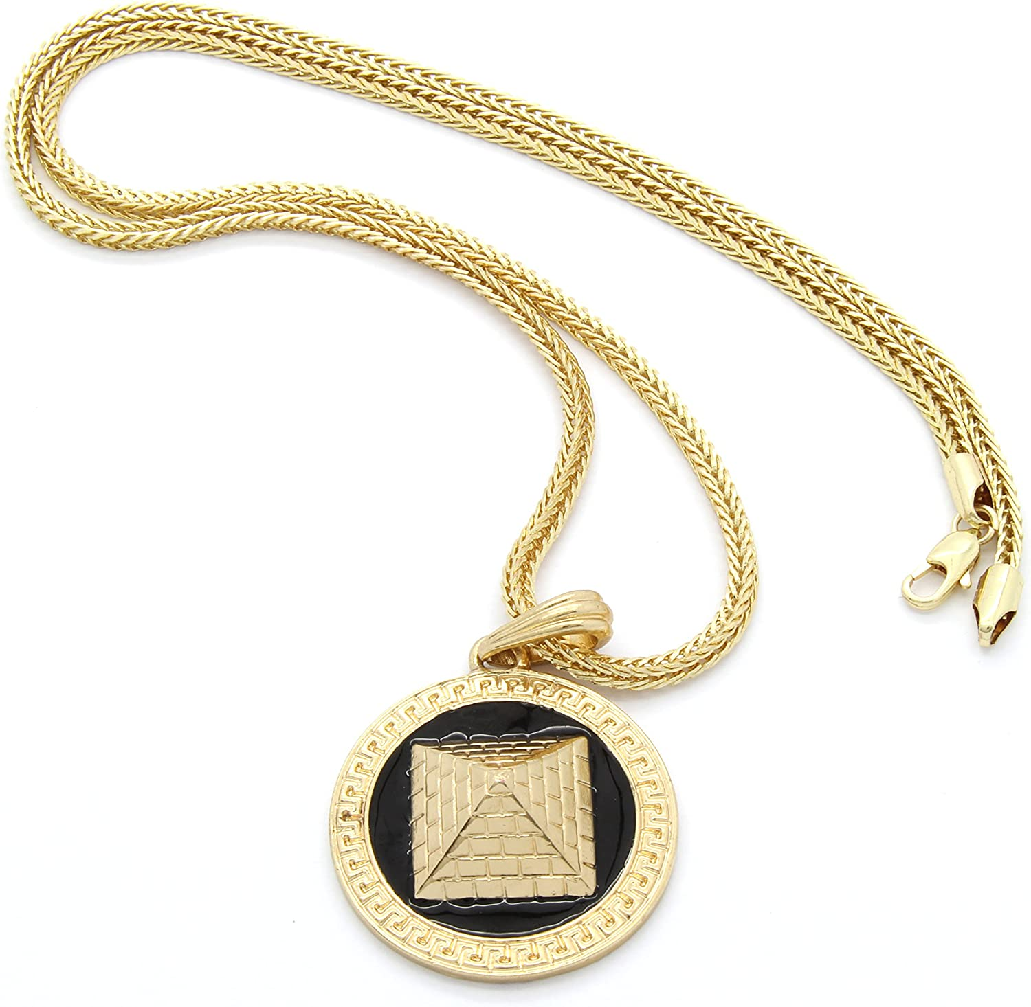 Mens Gold Tone With Black Tone Pattern Pyramid Round Pendant 3mm 24 Franco Chain Necklace Amazon Com