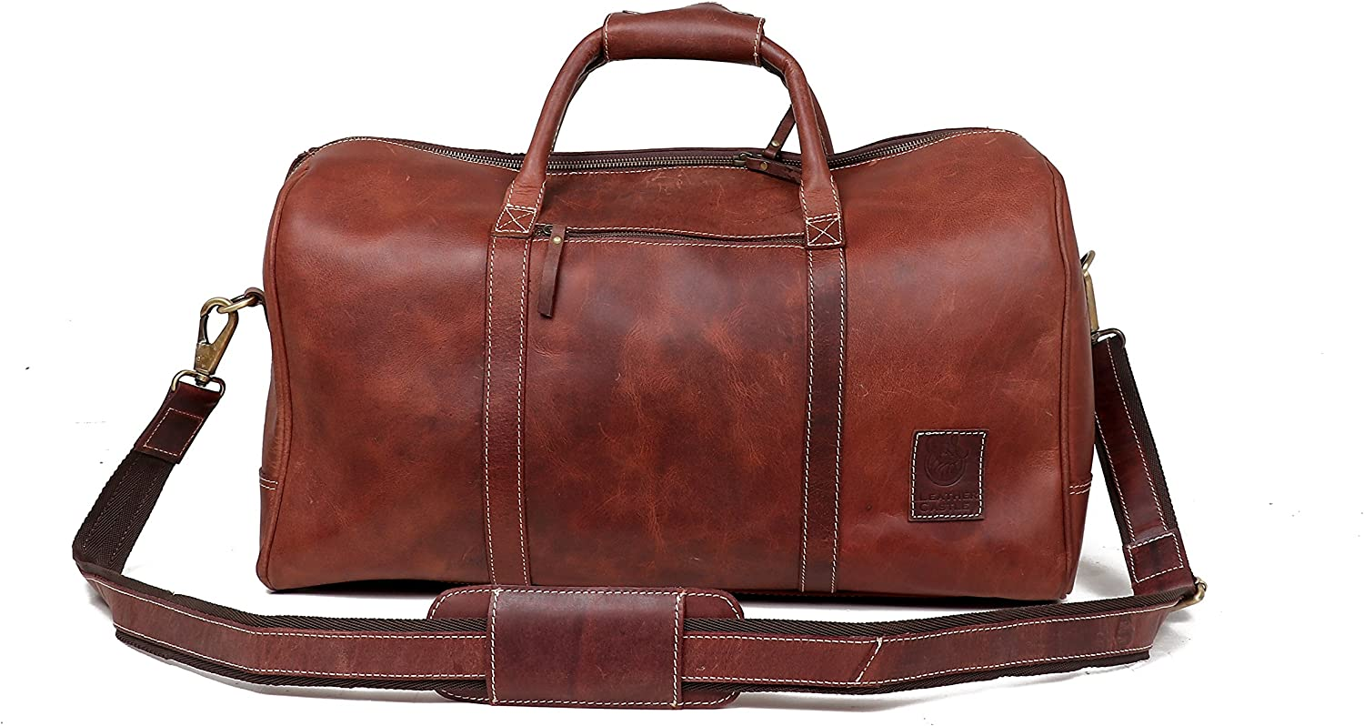 Leather Castle Genuine Vintage Men s Duffel Sports Gym, Travel, Carry-on Luggage Bag, Hickory Brown