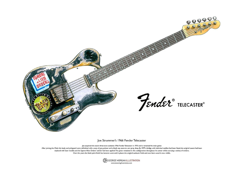 Art Cartel de 1966 Fender Telecaster guitarra de Joe Strummer, tamaño A3 George Morgan Illustration