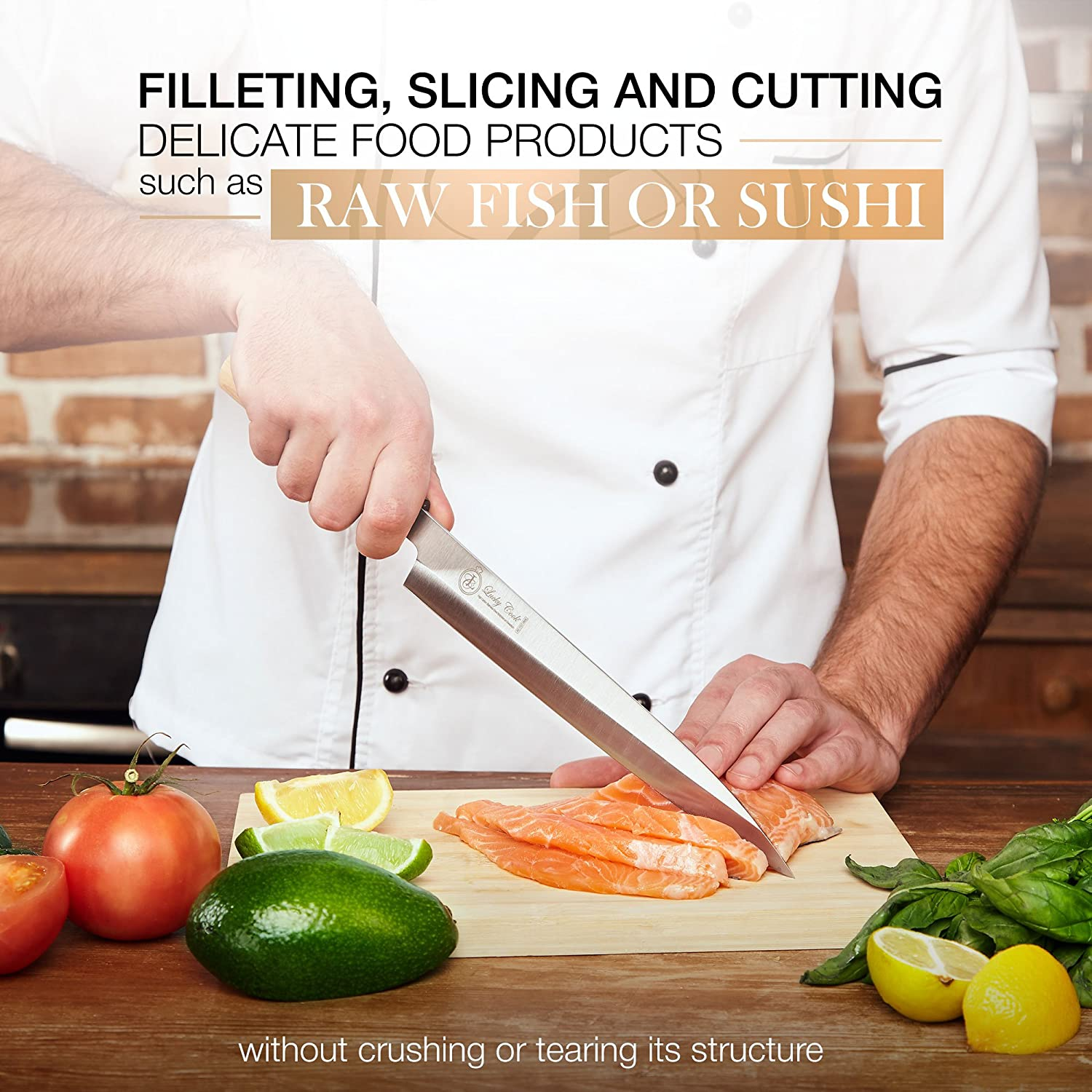 Sashimi Sushi Knife 10 Inch - Perfect Knife For Cutting Sushi & Sashimi, Fish Filleting & Slicing - Very Sharp Stainless Steel Blade & Traditional ...