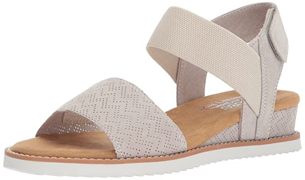 Skechers BOBS Women's Desert Kiss Sandal, Off White, 8 M US