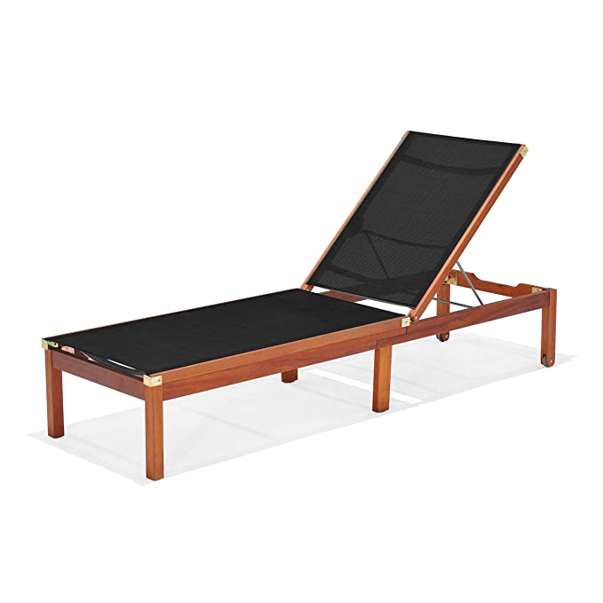 Amazon.com: Amazonia Bahamas de patio chaise tumbona, Negro ...