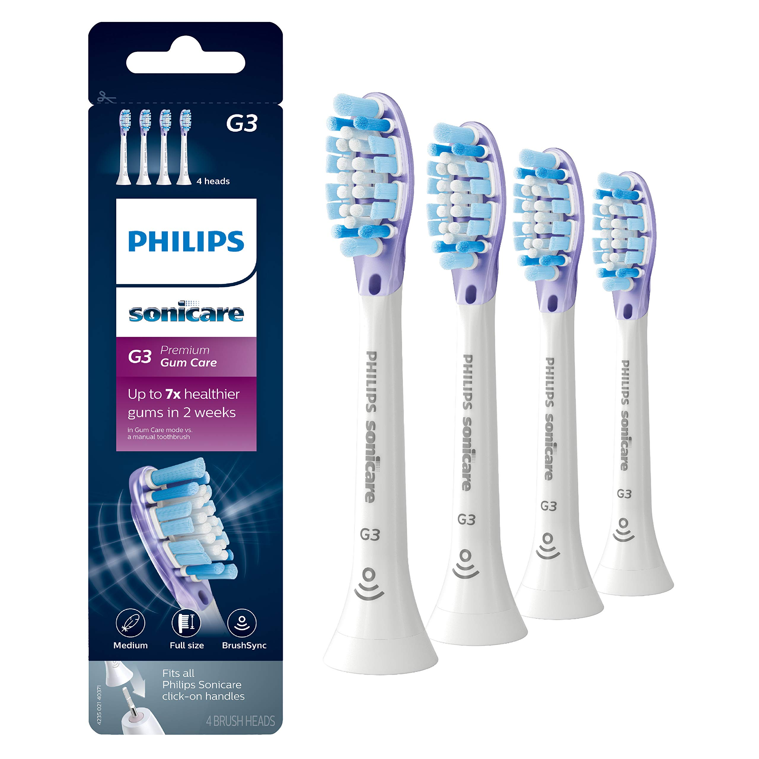 Genuine Philips Sonicare G3 Premium Gum Care toothbrush head, HX9054/65, 4-pk, white by Philips Sonicare