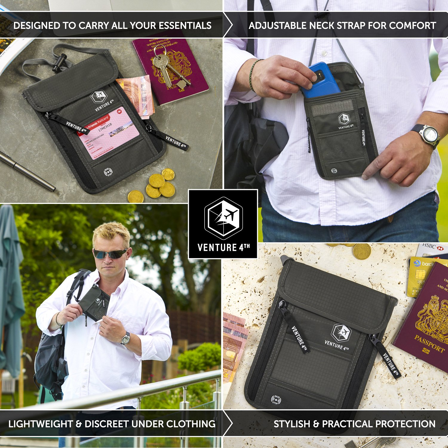 Venture 4th Travel Neck Pouch With RFID Blocking - Travel Wallet Passport Holder (Grey) by VENTURE 4TH (Image #5)
