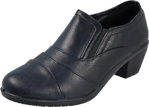 Ladies Black PU Faux Leather Slip On