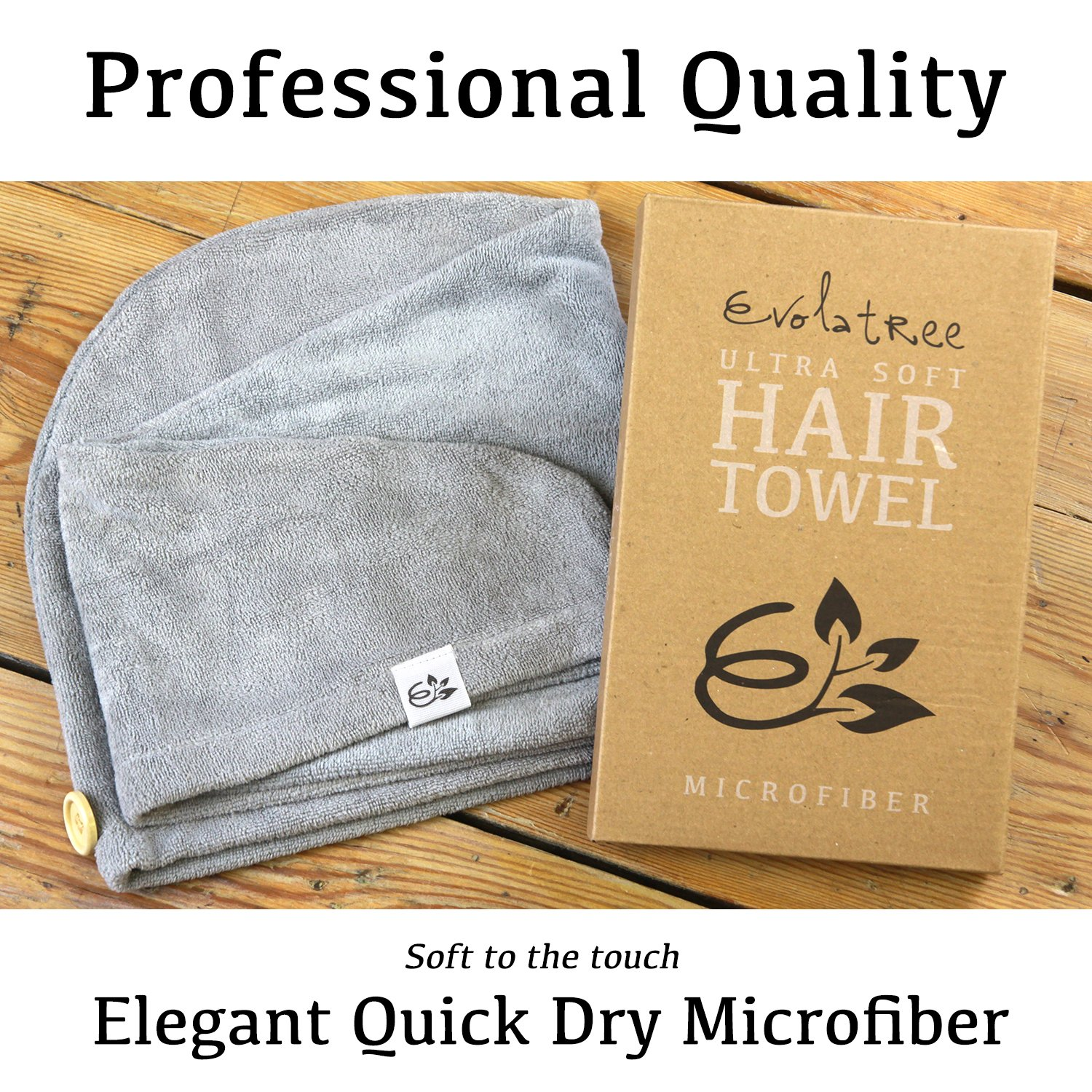 Evolatree Microfiber Hair Towel Wrap - Quick Magic Hair Dry Hat - Anti Frizz Products For Curly Hair Drying Towels - Neutral Gray by Evolatree (Image #7)