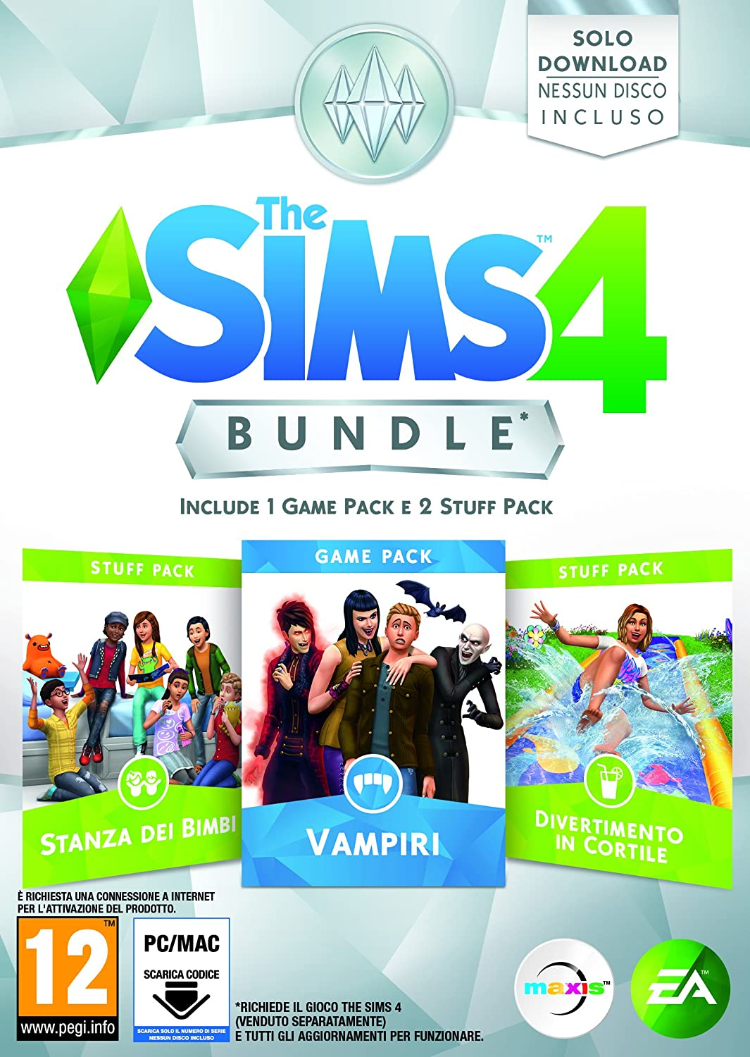 The Sims 4 Game & Stuff Pack 7: Vampiri, Stanza dei Bimbi, Divertimento in Cortile - PC [Importación italiana]: Amazon.es: Videojuegos