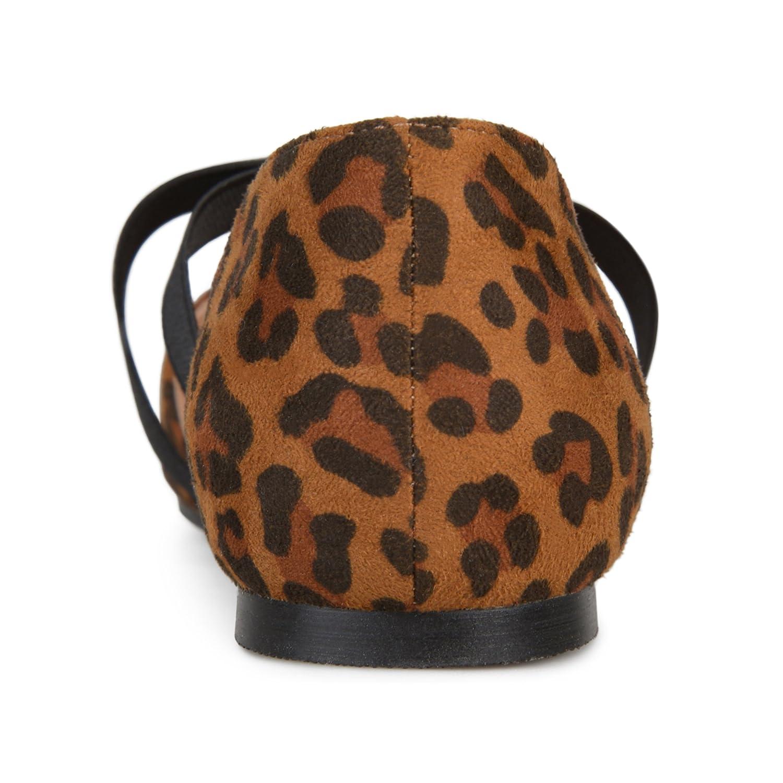 Brinley Co Womens Pointed Toe Faux Leather Criss Cross Flats B071GW6H96 7 B(M) US|Leopard