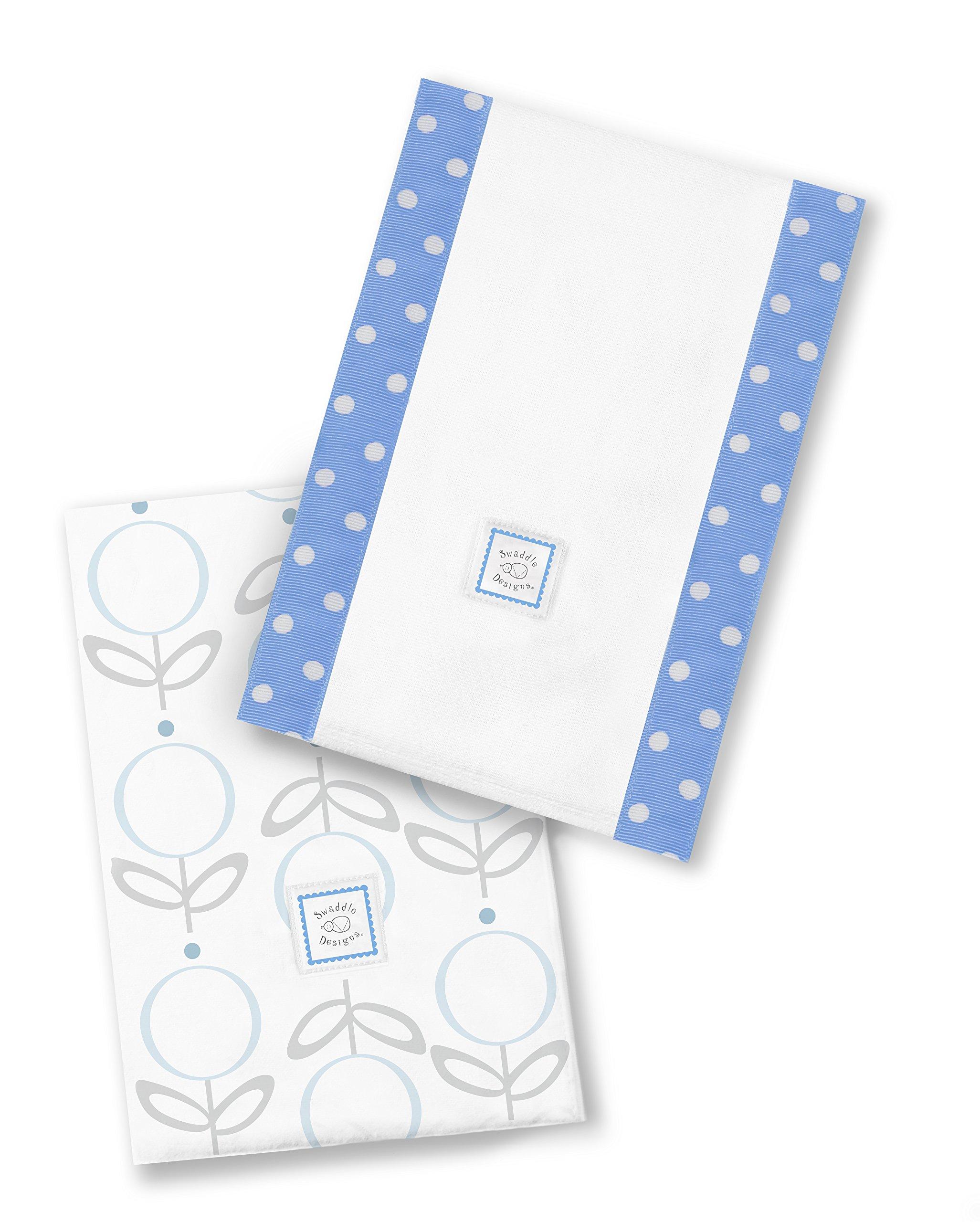 SwaddleDesigns Baby Burpies, Set of 2 Cotton Burp Cloths, Blue Lollie Fleur