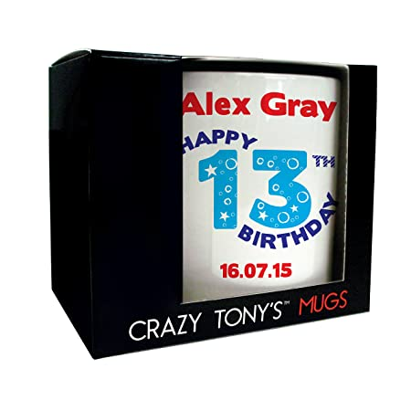 Personalised 13th Birthday Mug Crazy Tonys Gift Gifts For Him Present Ideas Amazoncouk Kitchen Home