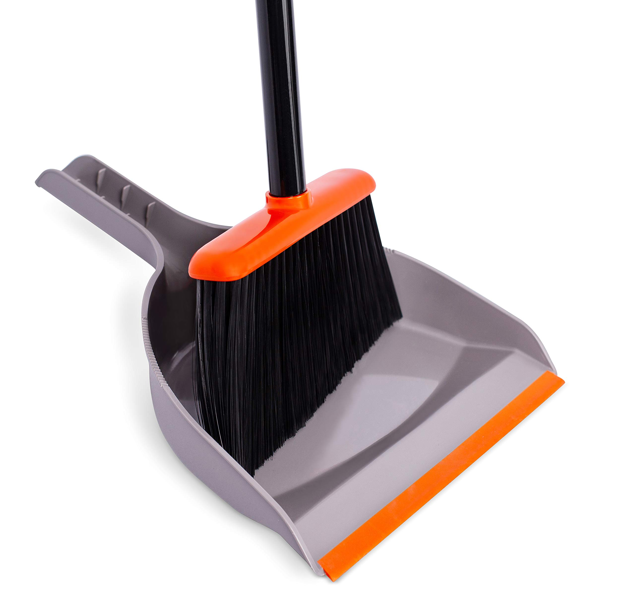 BirdRock Home Broom and Dustpan Set - Orange and Grey Durable Set - Indoor or Outdoor - Sweep Combo Great for Kitchen, Home, Garage and Office - Clip On by BIRDROCK HOME