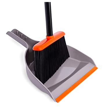 BirdRock Home Broom and Dustpan Set   Orange and Grey Durable Set   Indoor or Outdoor   Sweep Combo Great for Kitchen, Home, Garage and Office   Clip On